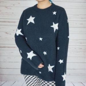 H&M Navy Star Print Chunky Oversized Sweater